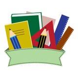 五颜六色的文具 与丝带的学校或办公用品 r 库存例证