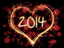 五颜六色的新年2014年心脏 免版税库存图片