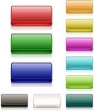五颜六色的方形的按钮空白 库存照片