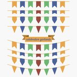 五颜六色的旗布和诗歌选集合 装饰的设计元素 库存图片