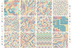 五颜六色的无缝的几何样式的汇集 时尚80-90s 向量例证