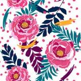 五颜六色的无缝的在许多颜色的样式开花的野花 库存例证