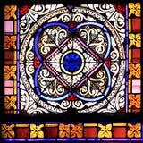 五颜六色的无缝的彩色玻璃在许斯克朗,法国 免版税库存照片