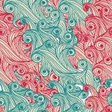 五颜六色的无缝的抽象手拉的样式, 免版税库存图片