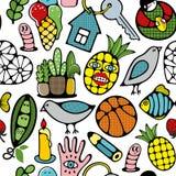 五颜六色的无缝的样式用滑稽的妖怪菠萝、动植物 向量例证