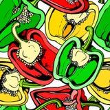 五颜六色的无缝的样式用甜椒 库存照片
