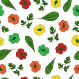 五颜六色的无缝的样式用辣椒粉,菠菜和荷兰芹导航例证,设计的五颜六色的印刷品 库存图片