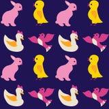 五颜六色的无缝的纹理套小鸡鸭子和鸟在蓝色b 库存图片