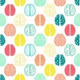 五颜六色的无缝的脑子样式 科学的背景 免版税库存照片