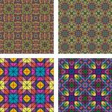 五颜六色的无缝的马赛克样式背景集合 向量例证