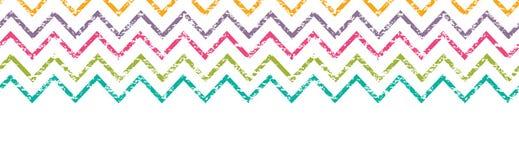 五颜六色的无缝难看的东西V形臂章水平的边界 免版税库存图片