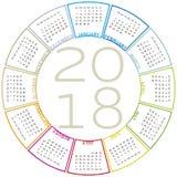 五颜六色的日历在2018年 圆设计 免版税库存照片
