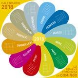 五颜六色的日历在2018年,花设计 西班牙语 免版税库存照片