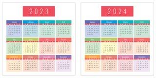 五颜六色的日历设置了2023年和2024年 免版税库存图片
