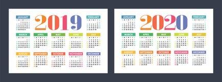 五颜六色的日历设置了2019年2020年 明亮,乐趣,逗人喜爱 免版税库存照片