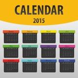 五颜六色的日历2015年 横幅模板 向量 免版税库存图片