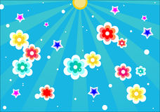 五颜六色的日开花晴朗的witf 库存照片