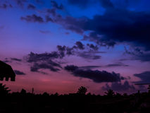 五颜六色的日落天空 库存照片