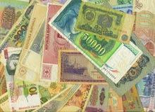五颜六色的旧世界纸币 免版税库存图片