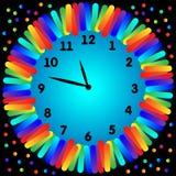 五颜六色的时钟例证 免版税库存照片
