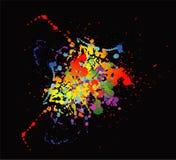 五颜六色的明亮的墨水splat设计有黑背景 库存图片