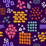 五颜六色的明亮的抽象手拉的不同的形状掠过冲程和纹理无缝的样式 库存例证
