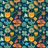 五颜六色的明亮的有异想天开的花的庭院花卉无缝的样式瓦片在黑暗的背景 库存例证