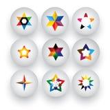 五颜六色的星、圣诞节& navidad,规定值, 3d徽章传染媒介象 库存图片