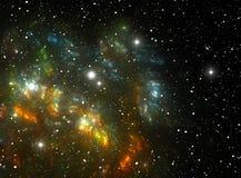 五颜六色的星云空间星形 皇族释放例证