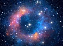 五颜六色的星云空间星形 免版税库存图片