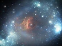 五颜六色的星云空间星形 免版税库存照片