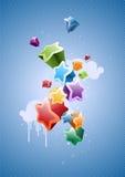 五颜六色的星形背景 免版税库存照片