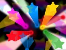 五颜六色的星背景显示神圣的射线和天堂 库存照片