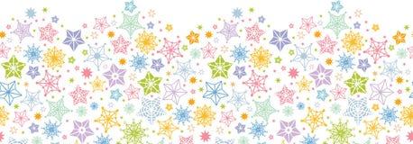 五颜六色的星水平的无缝的样式 库存图片