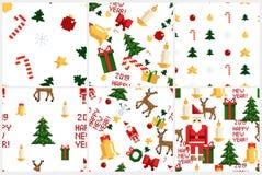五颜六色的映象点样式设置与圣诞节元素 Atcade比赛样式 库存例证