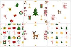 五颜六色的映象点样式设置与圣诞节元素 Atcade比赛样式 向量例证