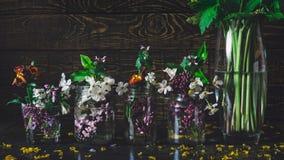 五颜六色的春天生动的美丽如画的花束在玻璃花瓶瓶开花,连续站立在黑暗的木背景 免版税库存图片