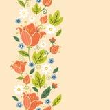 五颜六色的春天郁金香垂直的无缝的样式 免版税库存图片