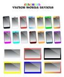 五颜六色的智能手机和片剂传染媒介集合 库存例证