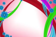 五颜六色的曲线线和蓝色花,抽象背景 免版税库存照片