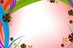 五颜六色的曲线线和绿色花,抽象背景 免版税库存图片