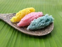五颜六色的有机泰国沙漠由cononut、糖和花气味被做 库存图片