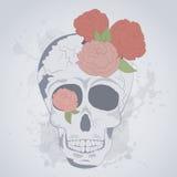 五颜六色的有玫瑰的葡萄酒人的头骨 纹身花刺头骨 免版税图库摄影