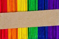 五颜六色的木冰棍棍子,冰淇凌黏附 免版税库存图片