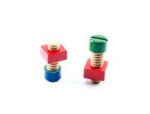 五颜六色的木基本要点玩具 免版税库存图片