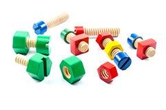 五颜六色的木基本要点玩具 免版税库存照片