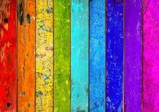 五颜六色的木彩虹背景 免版税库存图片