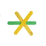 五颜六色的木箭头在与裁减路线的白色签字隔绝 库存照片