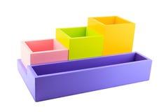 五颜六色的木配件箱 库存图片