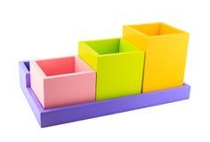 五颜六色的木配件箱 库存照片